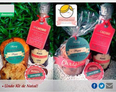 Kit de Natal para Presente contendo 1 Mini Panetone ou Chocotone + 1 Mini Espumante + 1 Delicioso Pote de Brigadeiro ou Doce de Leite com Esp�tula por R$15,90!!!