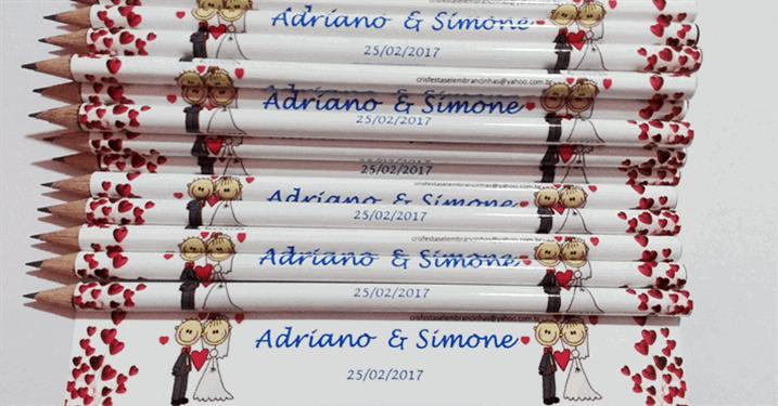 20 Lápis Personalizados com Convite ou Tag de Agradecimento por APENAS R$17,90!!!