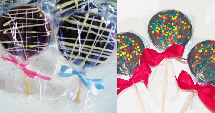 20 Pirulitos de Alfajor com Cobertura de Chocolate ao Leite, embalados no Saquinho com Fitilho por APENAS R$26,90!!!